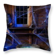 Steaming Cauldron In A Witch Cabin Throw Pillow