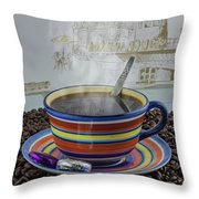Steaming Coffee  Throw Pillow