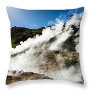 Steaming Hot Springs In Reykjadalur Iceland Throw Pillow