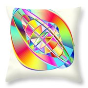 Steampunk Gyroscopic Rainbow Throw Pillow