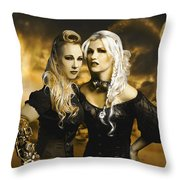 Steampunk Maidens Throw Pillow