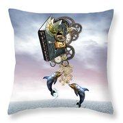 Steampunk Ocean Tale Throw Pillow
