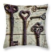 Steampunk - Old Skeleton Keys Throw Pillow