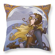 Steampunk Winter Throw Pillow
