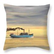 Steamship Freighter Heading Towards The Ocean Throw Pillow