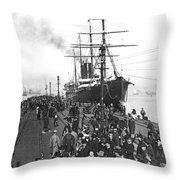 Steamship In Japan Throw Pillow