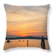 Steamy Hudson River Sunrise Throw Pillow