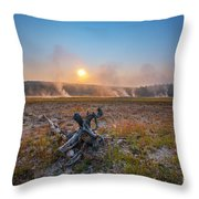 Steamy Sunrise In Yellowstone Throw Pillow