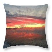 Steamy Winter Sunset Throw Pillow