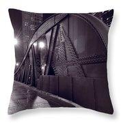 Steel Bridge Chicago Black And White Throw Pillow