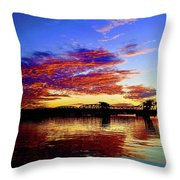 Steel Bridge Sunset Silhouette Throw Pillow