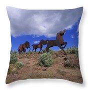 Steel Horses Throw Pillow