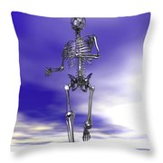 Steel Running Skeleton On Wet Sand Throw Pillow