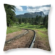 Steel Tracks In The Black Hills Throw Pillow