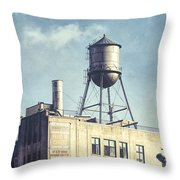 Steel Water Tower, Brooklyn New York Throw Pillow by Gary Heller