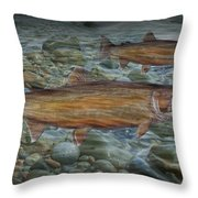 Steelhead Trout Fall Migration Throw Pillow