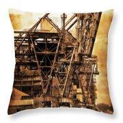 Steelmill Boatdock Cranes Detroit Throw Pillow