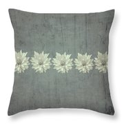 Steely Gray Rustic Flower Row Throw Pillow