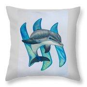 Steemit Dolphin Throw Pillow