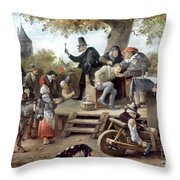 Steen: Quack, 17th Century Throw Pillow