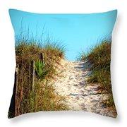 Steep Beach Path Throw Pillow