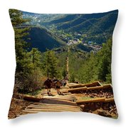 Steep Manitou Incline And Barr Trail Throw Pillow