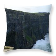 Steep Sheer Sea Cliff's Known As The Cliff's Of Moher Throw Pillow