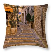 Steep Street In St Paul De Vence Throw Pillow by Louise Heusinkveld