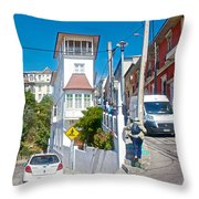 Steep Streets Up The Hills In Valparaiso-chile   Throw Pillow