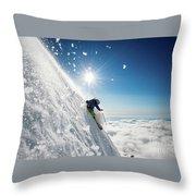 Steep Summer Volcano Skiing Throw Pillow