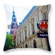 Steepled Building Being Restored On Side Street Of Plaza De Armas In Santiago-chile  Throw Pillow