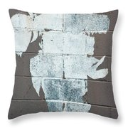 Steer Skull Abstract Throw Pillow