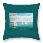 'steer The Course' - West Kirby Marine Lake, Wirral Throw Pillow