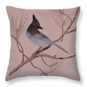 Stellar Jay On Ponderosa Branch Throw Pillow