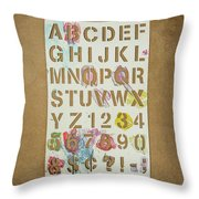 Stencil Alphabet Fun Throw Pillow