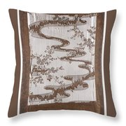 Stencil For Textile With Pattern Of Bush Clover And Meandering Stream Throw Pillow