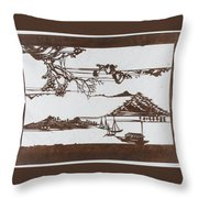 Stencil With Pattern Of Seascape On White Ground Throw Pillow