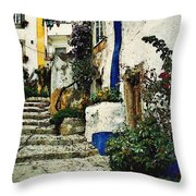Step Street In Obidos Throw Pillow