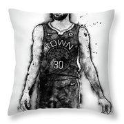 Steph Curry, Golden State Warriors - 18 Throw Pillow