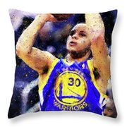 Steph Curry, Golden State Warriors - 19 Throw Pillow