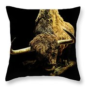 Steppe Bison Throw Pillow