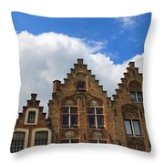 Stepped Gables Of The Brick Houses In Jan Van Eyck Square Throw Pillow