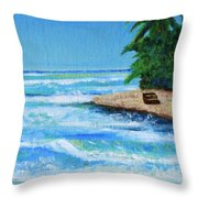 Steps Beach, Rincon Throw Pillow