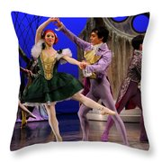 Stepsister Ballerinas En Pointe And Guests Ballroom Dancing In B Throw Pillow