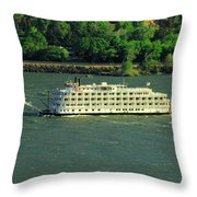 Stern Wheeler On The Columbia River  Throw Pillow