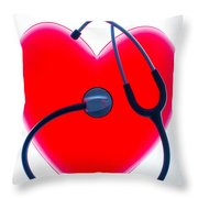 Stethoscope And Plastic Heart Throw Pillow