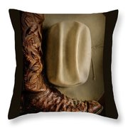Stetson Hat And Cowboy Boot  Throw Pillow