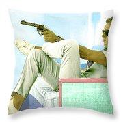 Steve Mcqueen, Colt Revolver, Palm Springs, Ca Throw Pillow