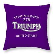Steve Mcqueen Isdt Triumph Throw Pillow by Mark Rogan