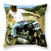 Steve Mcqueen, Triumph Motorcycle, On Any Sunday Throw Pillow